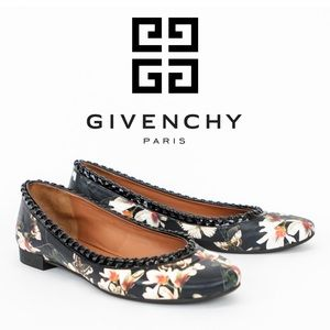 Givenchy Floral Print Leather Ballet Flats